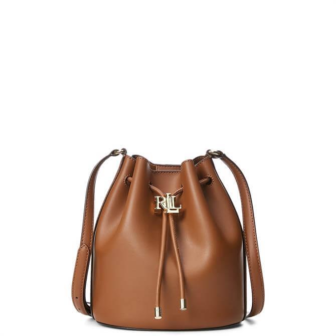 Lauren Ralph Lauren Tan Leather Medium Andie Drawstring Bag