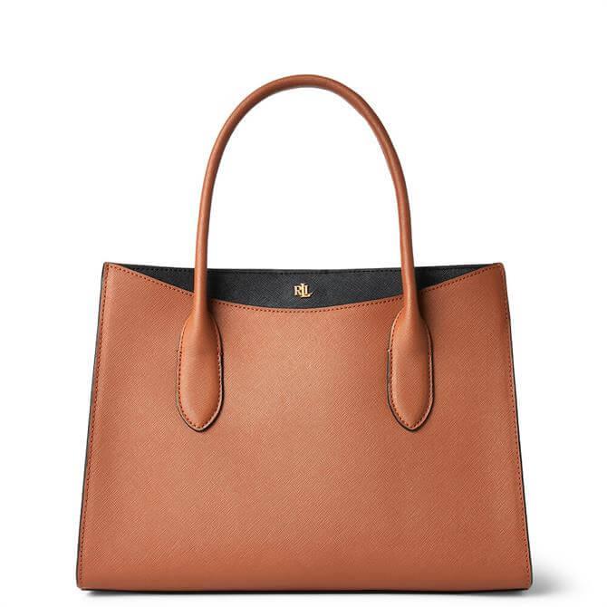 Lauren Ralph Lauren Crosshatch Leather Medium Lauren Tan/Black Emery Satchel