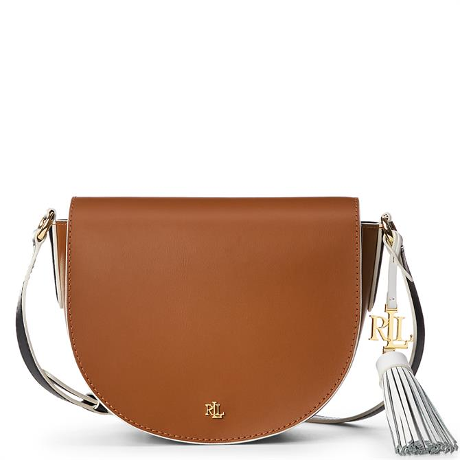 Lauren Ralph Lauren Tan/Black Leather Medium Crossbody Bag