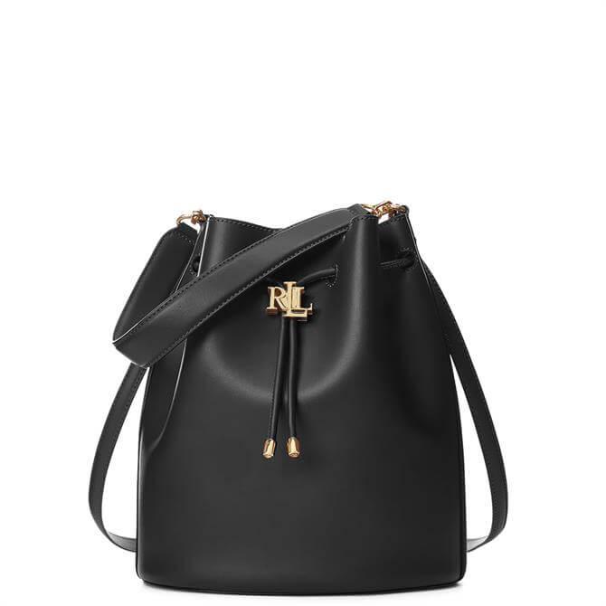 Lauren Ralph Lauren Black Leather Large Andie Drawstring Bag