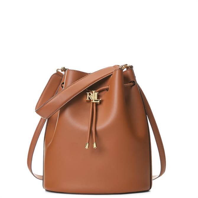 Lauren Ralph Lauren Tan Leather Large Andie Drawstring Bag