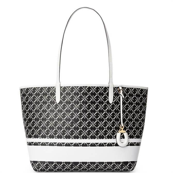 Lauren Ralph Lauren Medium Collins Black/Snow White Heritage Tote Bag
