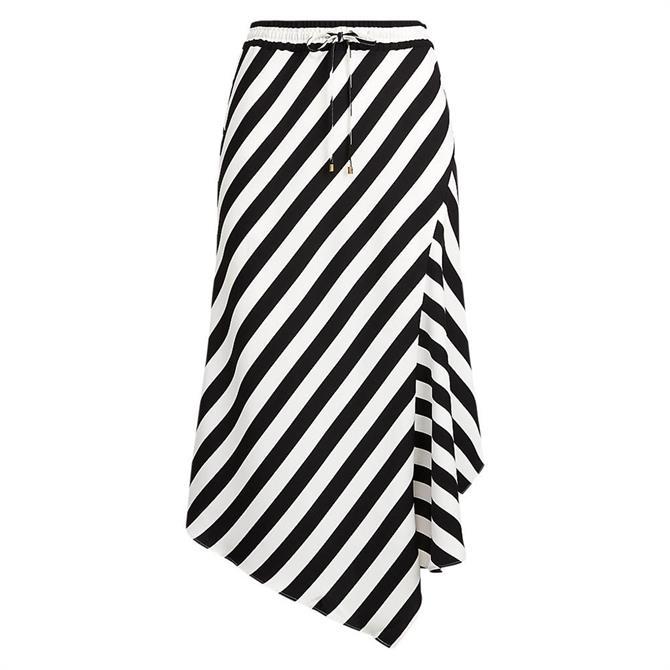 Lauren Ralph Lauren Striped Asymmetrical Satin Skirt