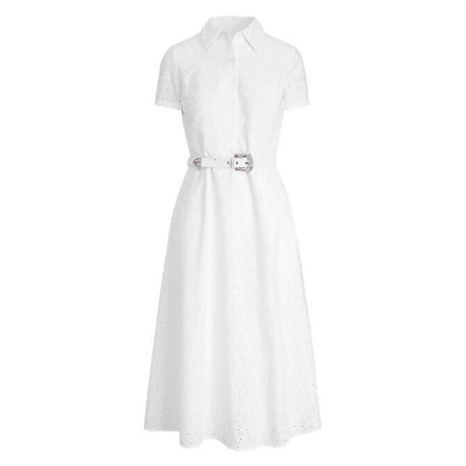 Lauren Ralph Lauren Belted Eyelet Cotton Shirt Dress