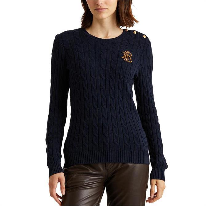 Lauren Ralph Lauren Button-Trim Cable-Knit Sweater