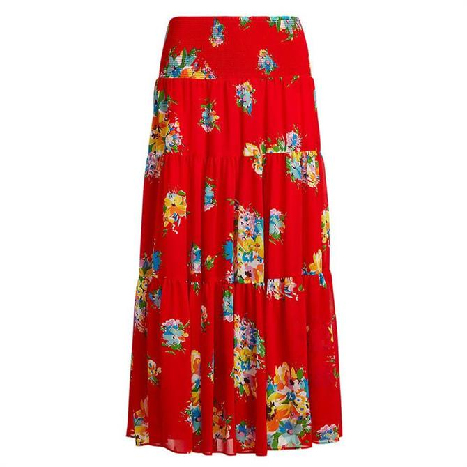 Lauren Ralph Lauren Floral Georgette Midi Skirt