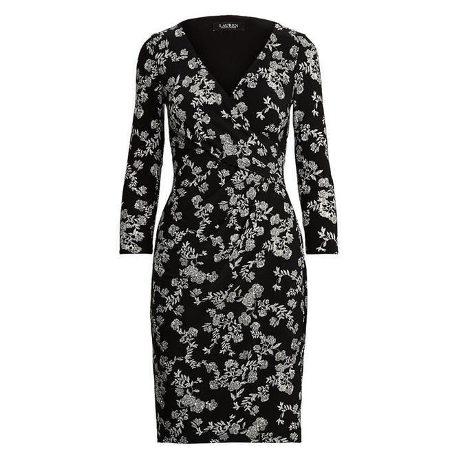 Lauren Ralph Lauren Floral Print Jersey Surplice Dress