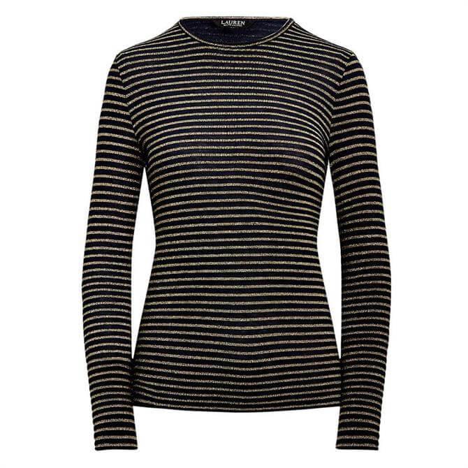 Lauren Ralph Lauren Metallic Striped Jersey Top