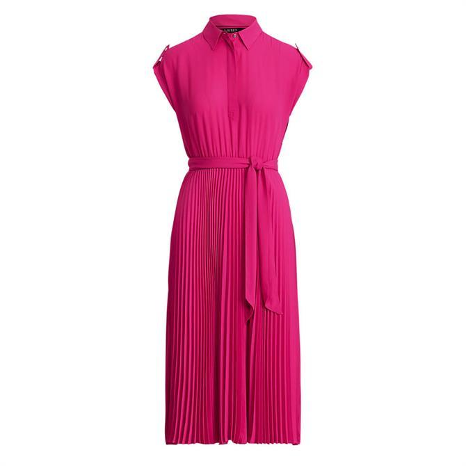 Lauren Ralph Lauren Pleated Georgette Shirt Dress