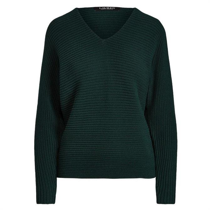 Lauren Ralph Lauren Combed Cotton V-Neck Sweater