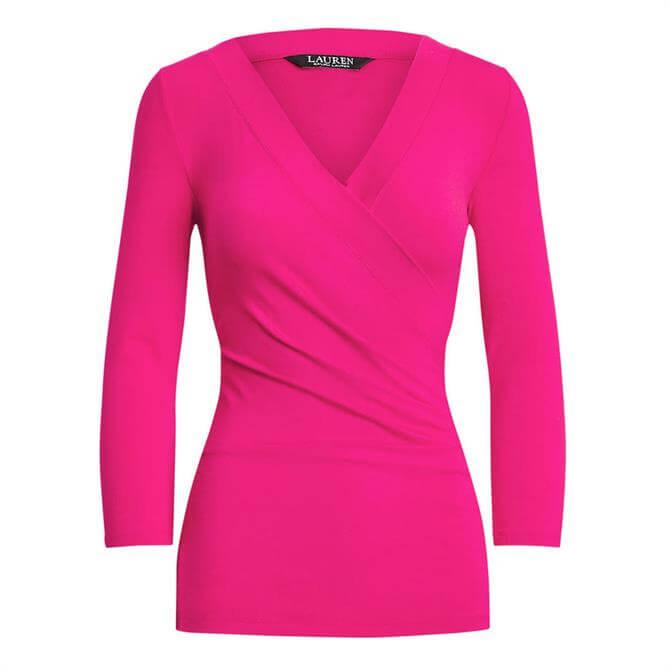 Lauren Ralph Lauren Pink Wrap-Style Jersey Top