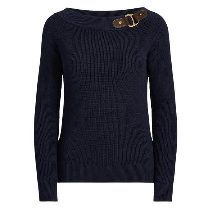 Lauren Ralph Lauren Cotton Ballet Neck Buckle Jumper