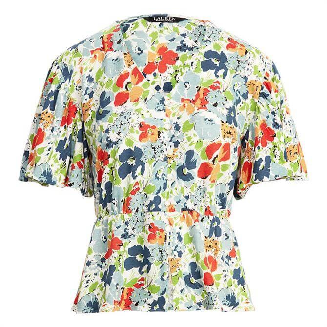 Lauren Ralph Lauren Floral Linen Jersey Peplum Top
