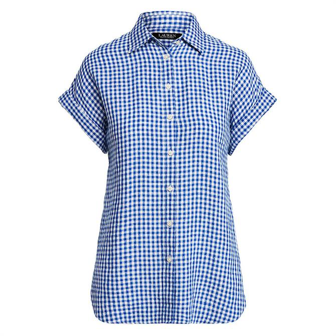 Lauren Ralph Lauren Gingham Linen Dolman-Sleeve Shirt