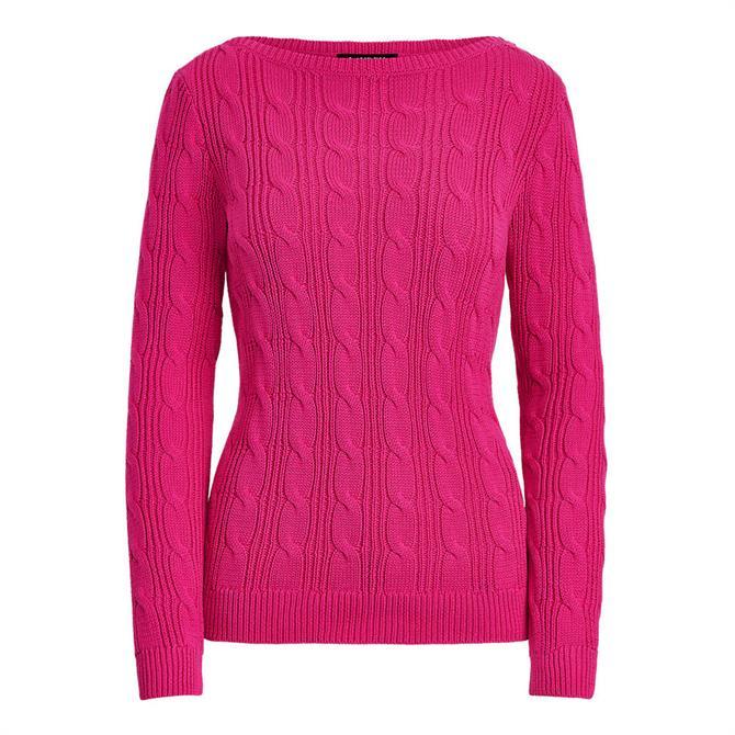 Lauren Ralph Lauren Cable-Knit Cotton Boatneck Pink Jumper
