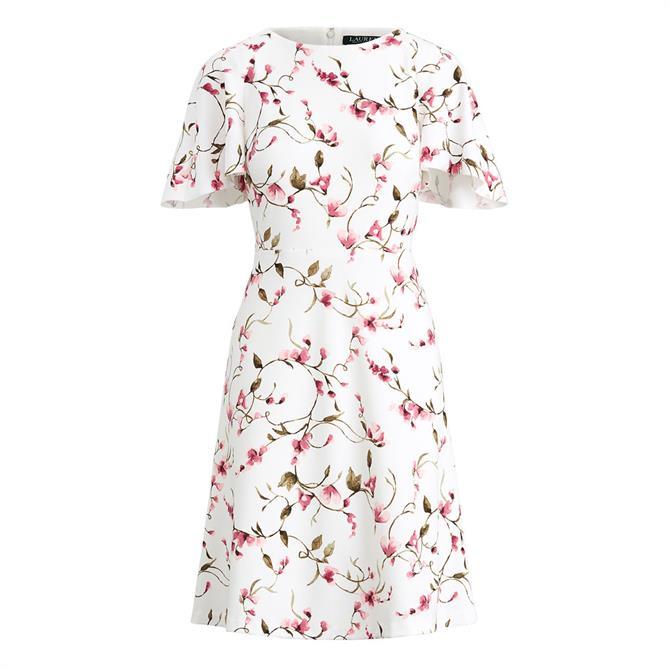 Lauren Ralph Lauren Chadela Floral Print Flutter Sleeve Dress