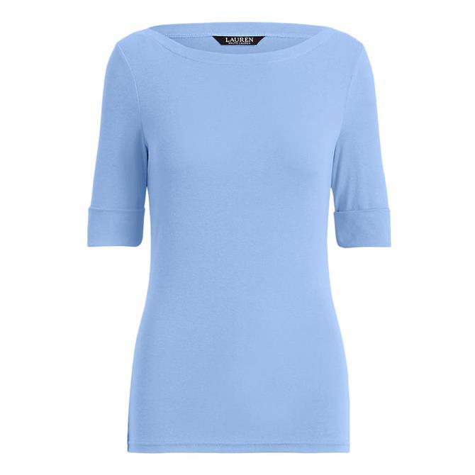 Lauren Ralph Lauren Cotton-Blend Boatneck Blue Top