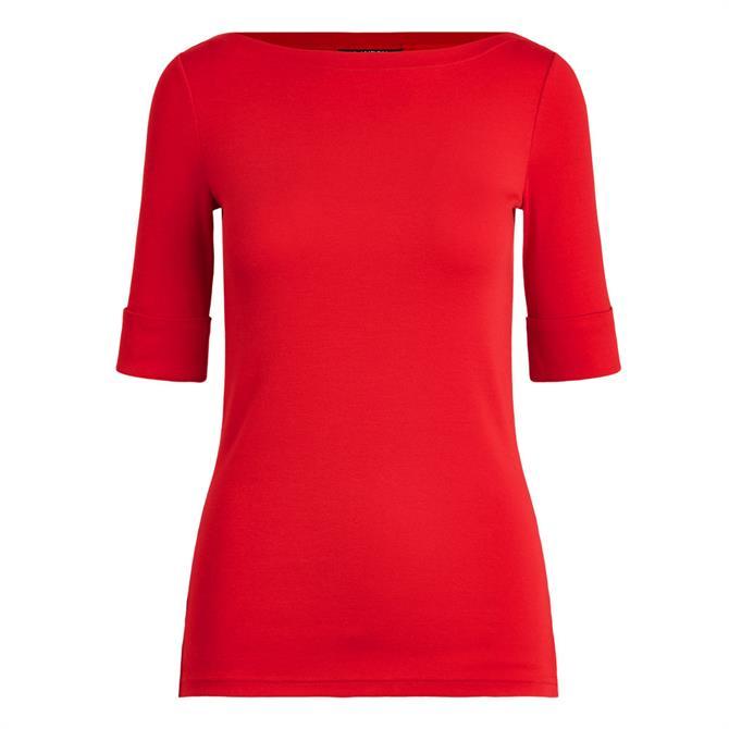 Lauren Ralph Lauren Cotton-Blend Red Boatneck Top