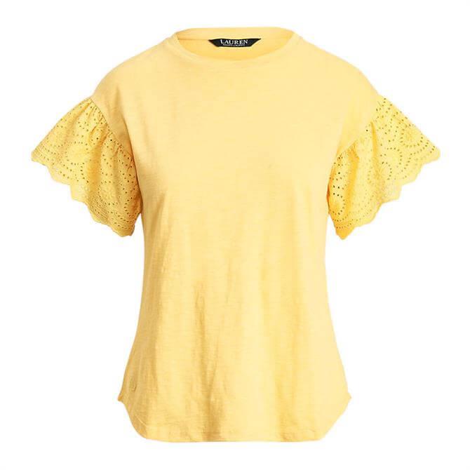 Lauren Ralph Lauren Slub Jersey Flutter-Sleeve Top