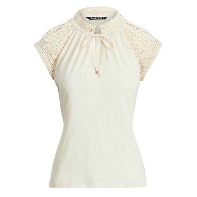 Lauren Ralph Lauren Lace-Trim Cotton Jersey Top