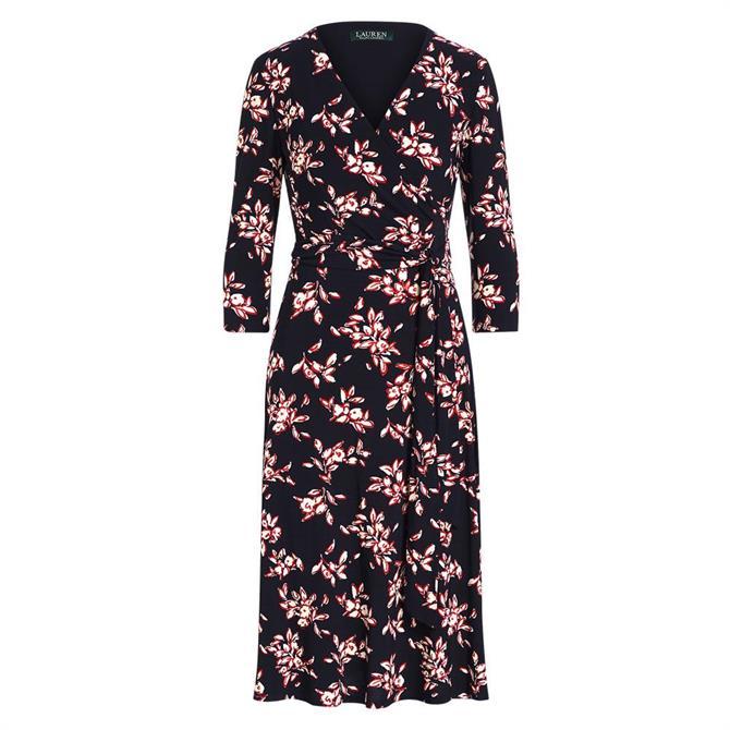 Lauren Ralph Lauren Floral Jersey Surplice A Line Dress