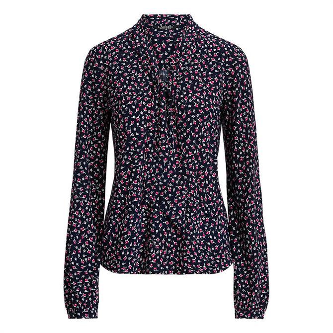 Lauren Ralph Lauren Floral Jersey Tie-Neck Top