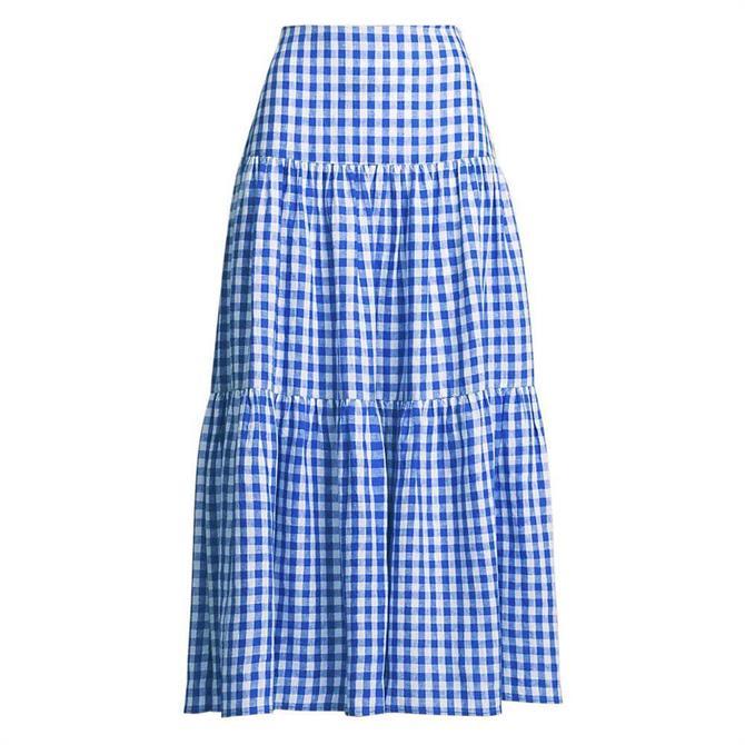 Lauren Ralph Lauren Gingham Linen Maxiskirt