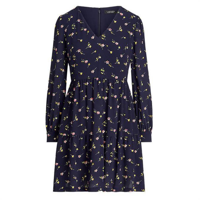 Lauren Ralph Lauren Floral Bishop-Sleeve Crepe Dress