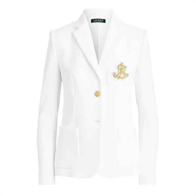 Lauren Ralph Lauren Patch Jacquard White Blazer