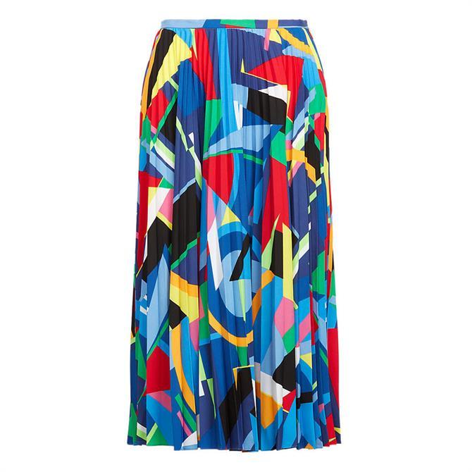 Lauren Ralph Lauren Print Pleated Crepe Skirt