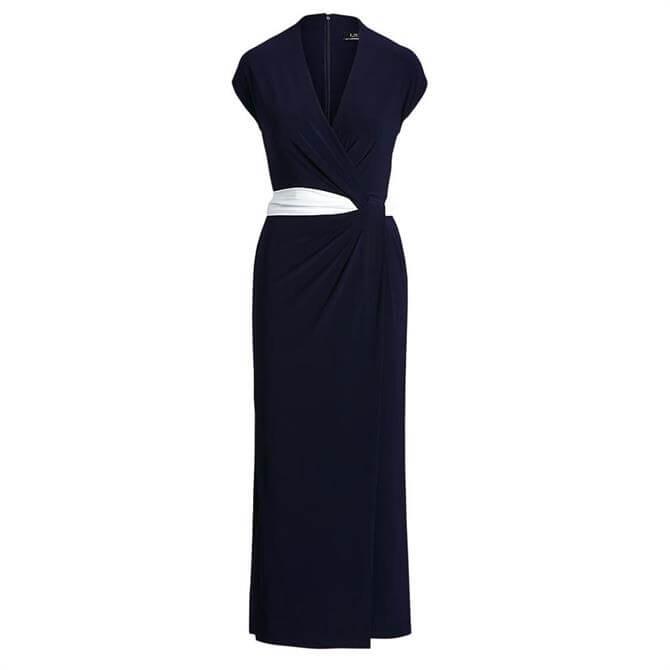 Lauren Ralph Lauren Two-Tone Jersey Cap-Sleeve Dress