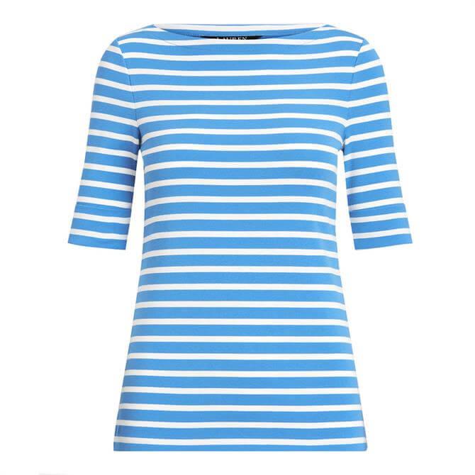 Lauren Ralph Lauren Striped Cotton-Blend Boatneck Top