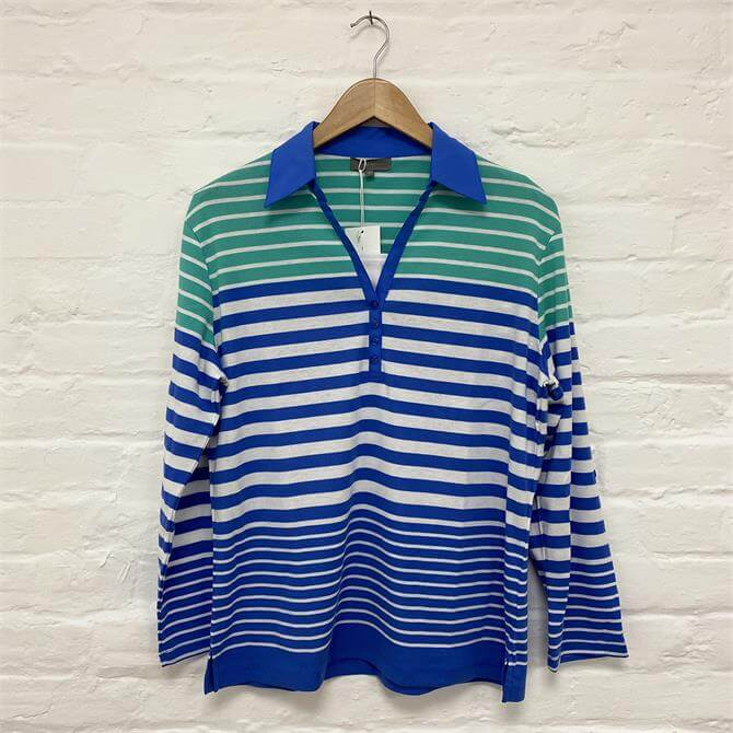 First Avenue Stripe Long Sleeve Polo