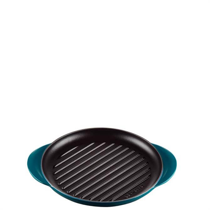 Le Creuset Cast Iron Deep Teal Classic Round Grill 25cm