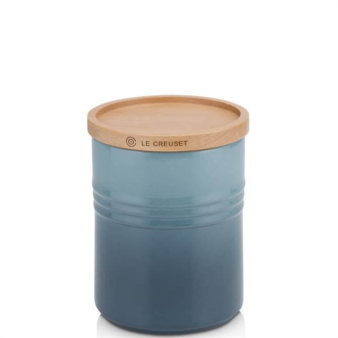 Le Creuset Marine Stoneware Medium Storage Jar with Wooden Lid