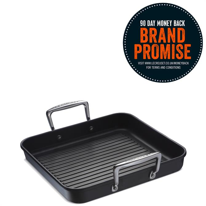 Le Creuset Toughened Non-Stick Ribbed Square Grill with Two Handles 28cm