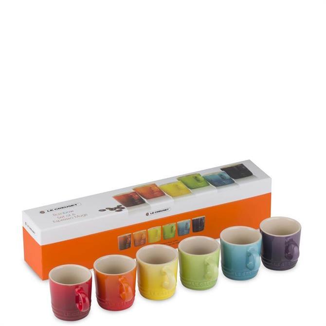 Le Creuset Stoneware Set of 6 Rainbow Espresso Mugs 100ml