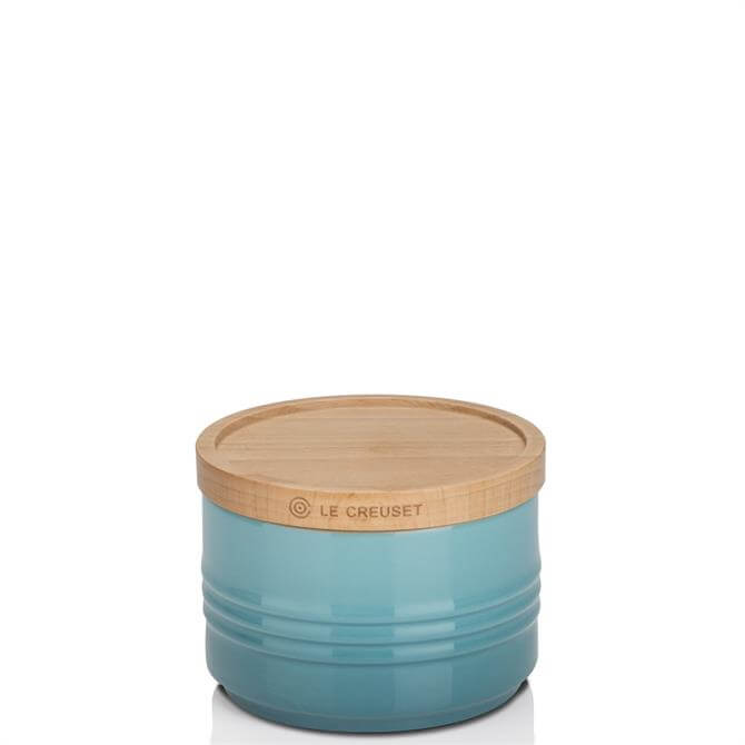 Le Creuset Teal Stoneware Small Storage Jar with Wooden Lid