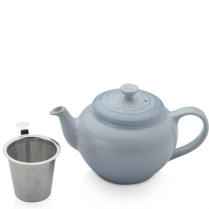 Le Creuset Coastal Blue Stoneware Petite Teapot with Stainless Steel Infuser