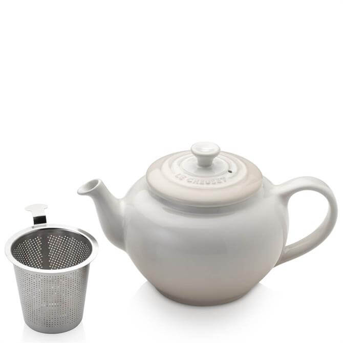 Le Creuset Meringue Stoneware Petite Teapot with Stainless Steel Infuser