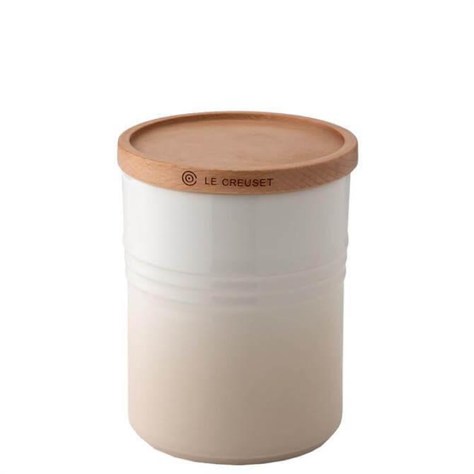 Le Creuset Meringue Stoneware Medium Storage Jar with Wooden Lid