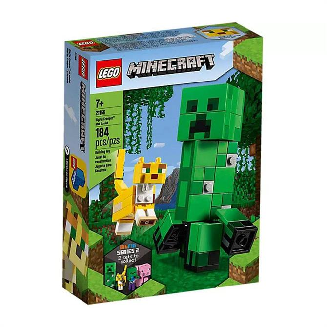 Lego Minecraft BigFig Creeper and Ocelot Set 21156