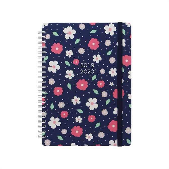 Letts Floral A5 Week To View Diary 2019-20 - Navy