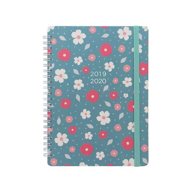 Letts Floral A5 Week To View Diary 2019-20 - Turquoise