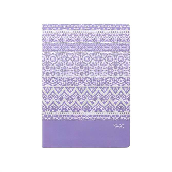 Letts Ikat A5 Week To View Diary 2019-2020 – Lilac