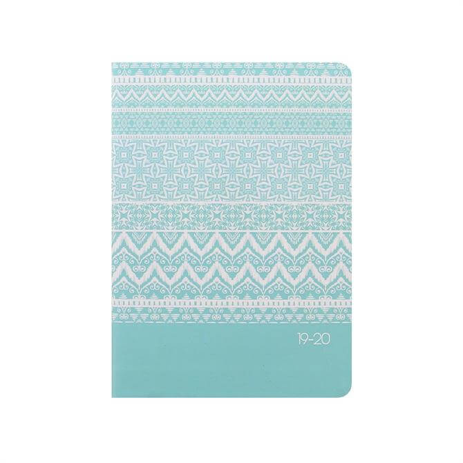 Letts Ikat A6 Day To Page with Appointments Diary 2019-2020 – Duck Egg