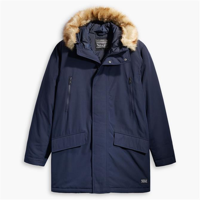 Levi's Navy Woodside Long Utility Parka Jacket
