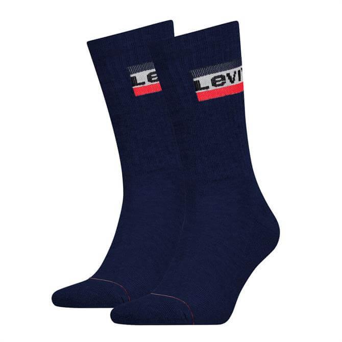 Levi's Blue Regular Cut Logo 2 Pack Socks