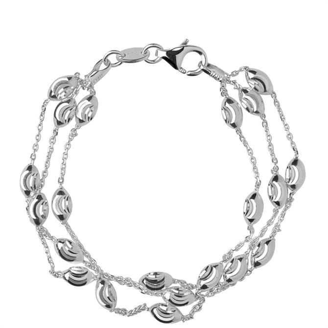 Links of London Essentials Sterling Silver Beaded 3 Row Bracelet Large