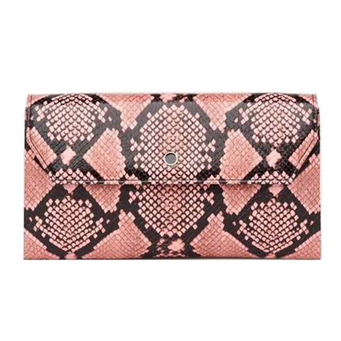 L.K. Bennett Dora Pink Snake Print Envelope Clutch